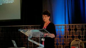 """Sharon delivers her presentation, """"I Think, Therefore I AM,"""" at the Rocky Mountain International Prophecy Conference"""